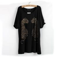3XL 4XL Plus Size Casual Novelty Women Tiger Tee Shirt Cotton Black Lady Top Big Large XXXL XXXXL XXXXXL 2014 New Summer Fashion