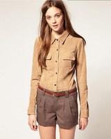 2014 spring new European style fashion wild temperament long-sleeved shirt Slim suede shirt