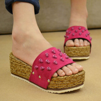 Free shipping Hot-selling 2014 skull rivets paltform platform drag female slippers sandals sandalias
