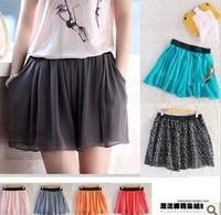 Free Shipping 2014 loose pocket shorts loose chiffon skirt pants shorts multicolor skirt-shorts