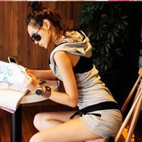 2014 summer Mushroom women's casual sportswear slim set short-sleeve shorts sports set