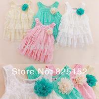 2015 infant baby girls lace dresses children clothing for autumn -summer kids princess flower tutu dress 4colors pink cake dress