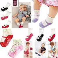Toddler's Infant Socks/Girl's Ballet Cotton Sock 7colors 7Pair/Lot Anti-Slip Naby Cute Shoes Dot Socks Cotton Baby Girls Socks