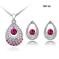 white gold plated rhinestone crystal fashion necklace earrings jewelry set for women 7D012