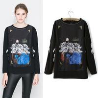 New women wholesale European style digital printing sleeve T-shirt for women nc50-1-2421