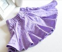 Korean spring autumn new girls bubbles spent 360 degree swing fishtail skirt waist skirt  Embossed pattern purple yellow