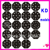 24pcs Octangle shape nail image plate KD01 to KD24 designs Fashion Nail template FREE SHIPPING