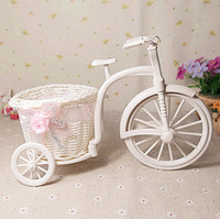 Free Shipping,2pcs/lot,Plastic Rattan tricycle vase Storage Basket home decoration