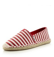 Spring stripe canvas shoes women flats elastic hemp-soled shoes lazy cotton-made straw braid low single shoes 5
