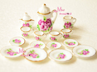 Free Shipping !Lot of 15pcs Rose Porcelain Coffee Tea Cup Set  cake dishes~ 1/12 Scale Dollhouse Miniature Furniture