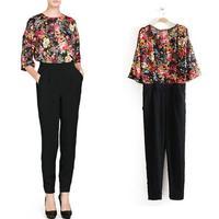 2014 spring new European style cash noble temperament chiffon printing stitching black piece pants thin models