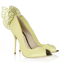 2014 women pumps handmade high quality night club shoes fashion butterfly design smart yellow color 8 cm heels party footwear