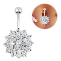 FR374 SEXY JEWELRY clear crystal button rings 316L Surgical Steel navel bar belly piercing