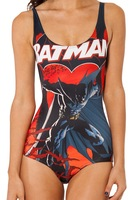 New 2014 One piece Sexy swim suits Magic cartoon Batman print beach swimwear women Summer Swimsuit monokini  free shipping