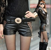 Free shipping 2014 hot sale New Trend leopard shorts,Fashion Low-Waisted Stretchy women's pu leather shorts,Summer hot pants