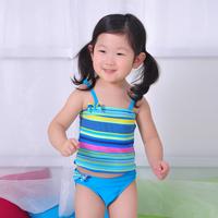 Free shipping 2014 New arrival Spring Summer stripe bowknot 2pcs swimsuit children girls swimwear kids