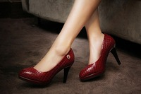 2014 stone pattern ultra high heels genuine leather shoes round toe platform thin heels women's shoes