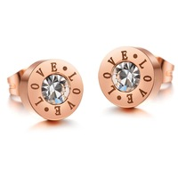 2014 newest Love titanium steel  rose gold plated women earring with CZ-set GE264