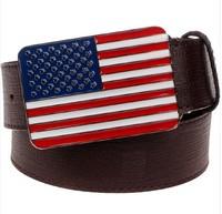 Fashion Boutique Belt Retro American Flag Pu Leather Belt Metal Buckle Gift belt for Men women free shipping