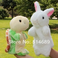 Gloves doll  baby plush toy  Storytelling props animal hand puppets tortoise + rabbit  2pcs Baby gift  free shipping