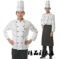 10sets [Cap-top-apron]   long-sleeve men's clothing upperwear cook work wear clothing coo9  kitchen work clothing free ship