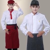 10sets [Hat-top-Apron]  work wear cook suit long-sleeve restaurant uniforms cook suit   chef uniform Large size Chef Coat