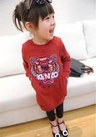(5 pieces/lot)Wholesale 2014 New 2014 female child spring thin tiger sweatshirt dress f2704 0.72