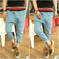 free shipping mens jeans  low-rise pants big crotch pants plus size harem pants mens skinny jeans