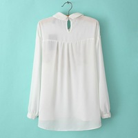 Spring 2014 new women's white collar long-sleeved chiffon blouse embroidered blouse xq95-3 -2392