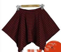2014 Spring summer female irregular plaid color block short skirt bust skirt vintage all-match preppy style free shipping