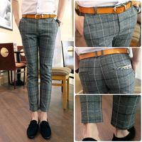 free shipping  mens skinny pants  woolen plaid taper pants 9 casual pants