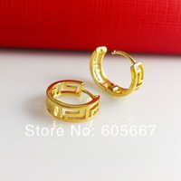 Real 24 K Yellow Gold Plated Earrings ! Fashion African Jewelry Women Hollow Round Earring E001 Free Shipping