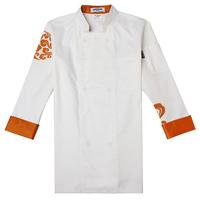 [10pcs]cook suit cook clothing uniform long-sleeve cook suit cook suit red gold mi  chefs jacket for men wholesale chef coats