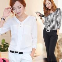 New 2014 women summer Chiffon base Blouse solid  v-neck pocket striped Korea OL Fashion shirts plus size 3 color M-XL