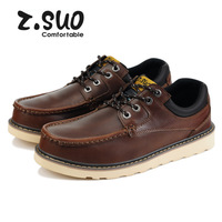 Brand Z.Suo 2014 Spring/Autumn Casual Combat Genuine Leather Sneakers Outdoor Mens Oxford Shoes Sapatos