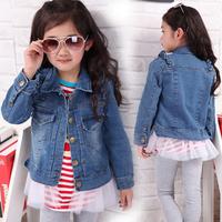 Free shipping New 2014 autumn-summer fashiom girls children's clothing kid's denim outerwear baby lotus leaf coat wear