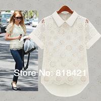 2014 newFashion Women's  summer cutout organza lace chiffon short-sleeve shirt female S M L XL