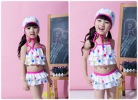 Cute children Suspender falbala skirt split swimwear girls polka dots swimsuits 3pcs sets have hats kids spa beachwear 7072