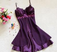 2014 sexy faux silk chiffon lace spaghetti nightgown sleepwear