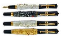 3Pcs JINHAO Flying Dragon Noblest Golden,Silver,Brown Medium Nib Fountain Pen New