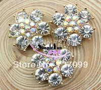 Free Shipping!! 23mm Flower Shape Flatback Rhinestone Alloy Button 30pcs/Lot