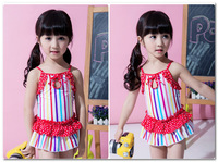 Fashion children Lovely colored stripes swimsuits girls suspender falbala skirt Siamese swimwear kids spa beach swimwear 7075