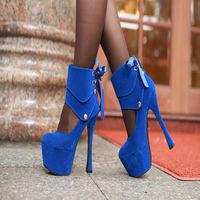 2014  women's autumn shoes detachable single shoes platform thin heels 16cm high heels fashion White wedding shoes women's pumps
