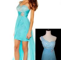 Fashion one shoulder beading slim waist mini train evening dress prom dress custom free shipping