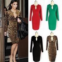 2014 Hot Sale Women Sexy Dress Female Fashion sexy Long Sleeve V-Neck Dress Temperament Slim Leopard Lady Knee-length Dress