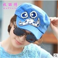Spring and summer tide models bearded ladies diamond paste baseball cap flat cap hat navy cap wholesale