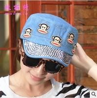 Spring and summer diamond paste graffiti cartoon monkey washed denim jeans flat cap navy hat lady