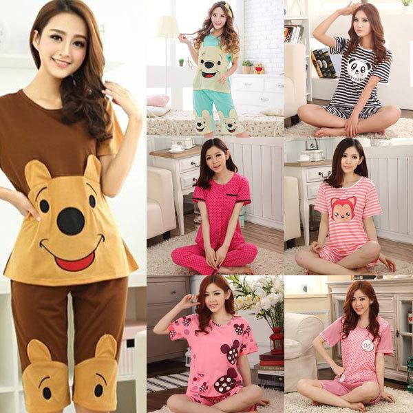 2 pieces set woman pajama nightwear knit cotton night wear for women cartoon pjs lady's sleep lounge homewear pyjama M-XXL 0320(China (Mainland))