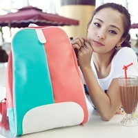 Girls backpacks Multi Color Daily backpacks Women Pu Leather backpack bags Patchwork Women's Casual printing for cute school bag