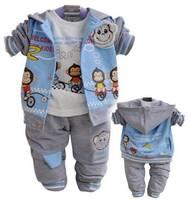 3PC baby boys outerwear+Long Sleeve T shirt+long Pants set clothing monkey